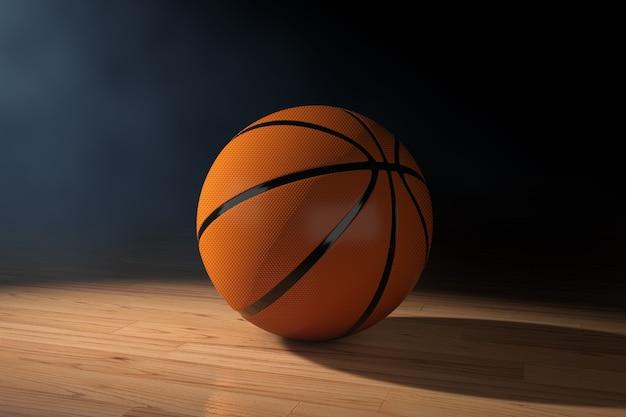 Оранжевый баскетбольный мяч на деревянном полу на черном фоне. 3d рендеринг