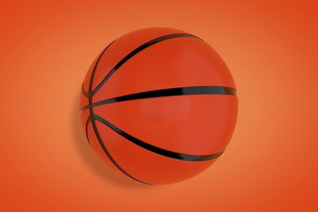 Orange basketball ball on a orange background. 3d rendering