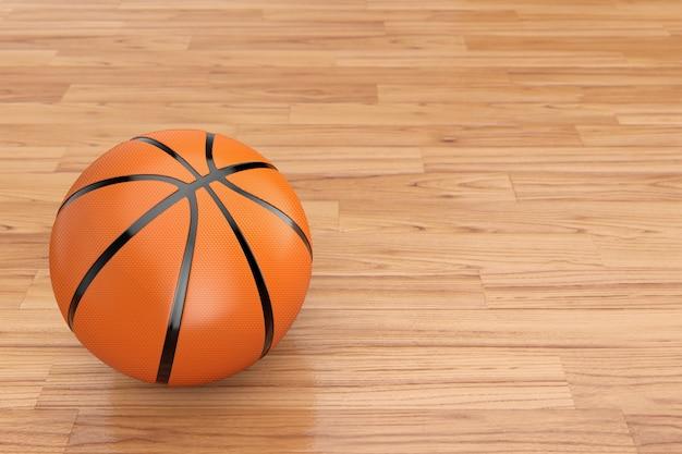 Orange basketball ball on a wooden floor. 3d rendering
