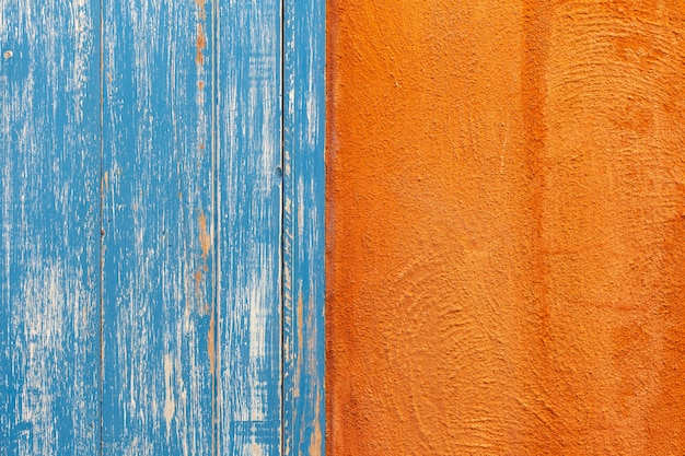 Orange and blue wooden wall texture