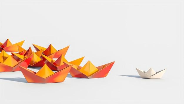 Оранжевые кораблики следуют за бумажным кораблем. 3d визуализация. концепция лидерства