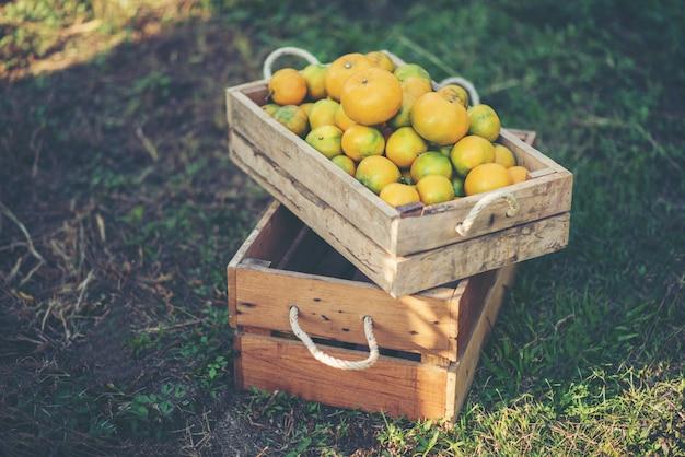 木製のテーブルのオレンジ色のボックス