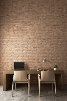Orange bricks wall with modern working desk