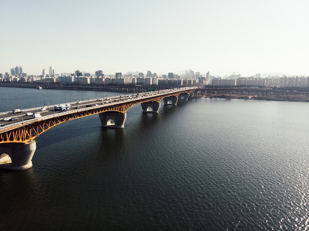 Orange bridge to seoul city