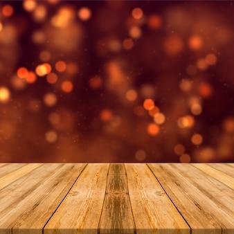나무 테이블 제품 디스플레이가 있는 주황색 갈색 보케 조명