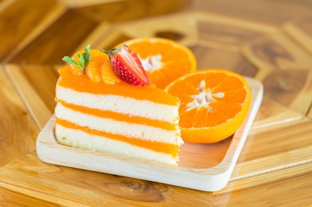 Orange cake with orange topping