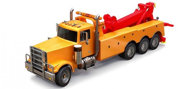他の大型トラックやさまざまな重機を輸送するオレンジ色の貨物牽引トラック。 3dレンダリング。