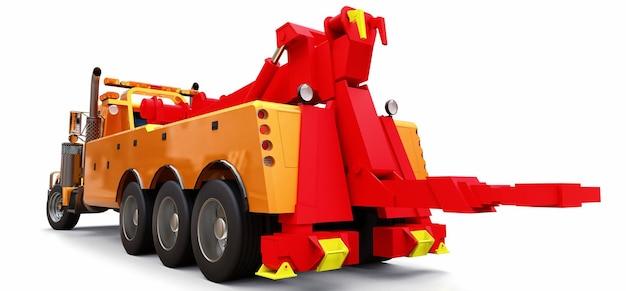 다른 대형 트럭이나 다양한 중장비를 운송하기 위한 주황색 화물 견인 트럭. 3d 렌더링.
