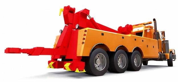他の大型トラックまたはさまざまな重機を輸送するためのオレンジ色の貨物レッカー車。 3dレンダリング。