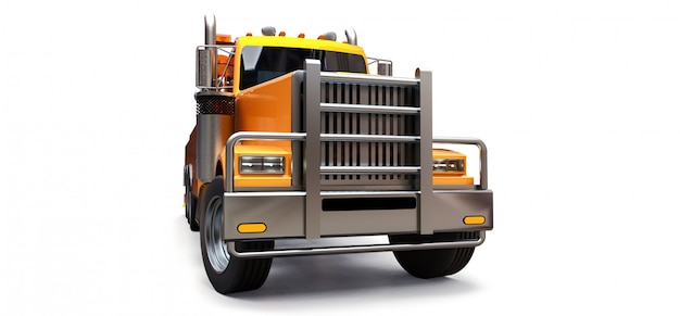Orange cargo tow truck to transport other big trucks