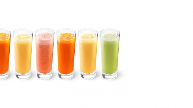 Orange, carrot, celery and grapefruit juices in glasses