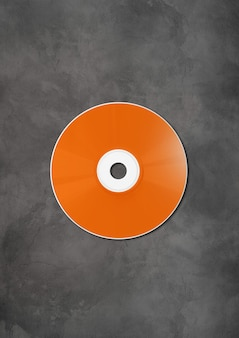 Orange cd - dvd label  template isolated on concrete background