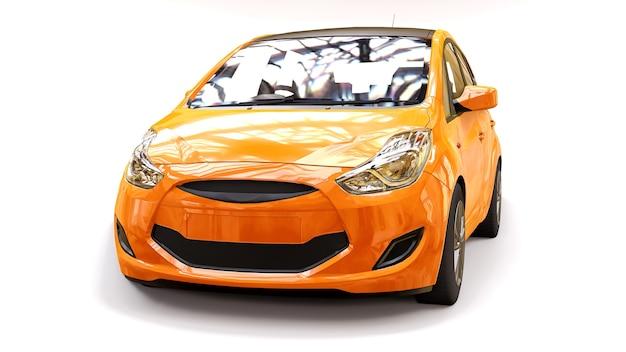 창의적인 디자인을 위한 빈 표면이 있는 주황색 도시 자동차. 3d 렌더링.