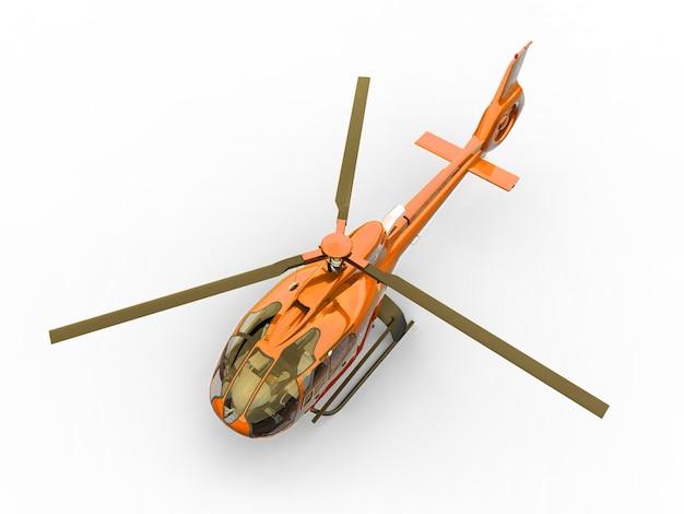 白い均一な表面上のオレンジ色の民間ヘリコプター