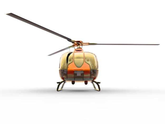 Orange civilian helicopter on a white uniform surface