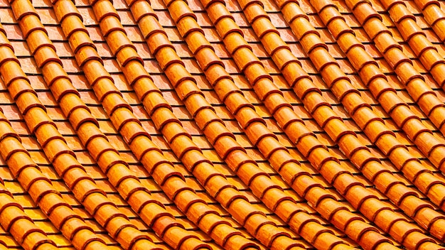 Orange clay roof tiles abstract pattern background