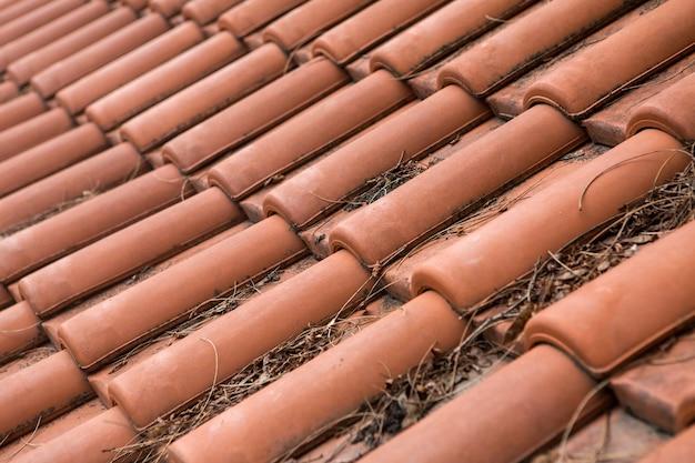 乾いた枝のある屋根のオレンジ色の粘土タイル