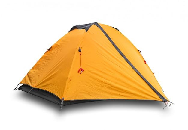 Оранжевая закрытая туристическая палатка