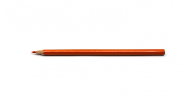 Orange color pencils isolated