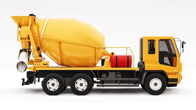 오렌지 콘크리트 믹서 트럭 흰색 배경입니다. 건설 장비의 3차원 그림입니다. 3d 렌더링.