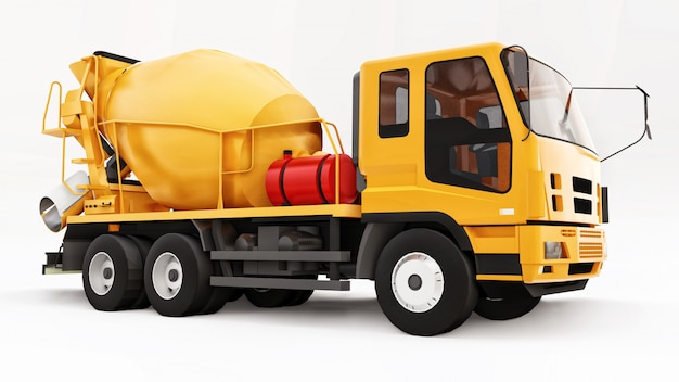 Orange concrete mixer truck white space. three-dimensional illustration of construction equipment. 3d rendering.