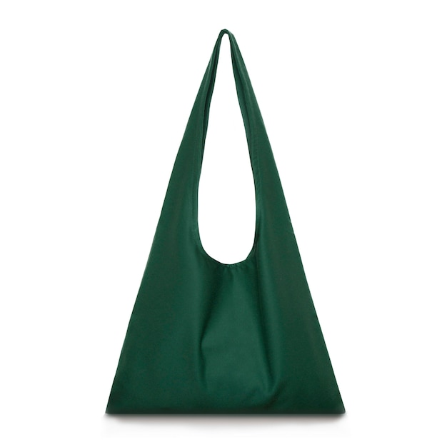 디자인에 대 한 흰색 격리 된 표면 장소에 오렌지 면화 쇼핑 가방 모형 빈 서식 파일에 대 한 생태학 또는 환경 보호 개념 캔버스 패브릭