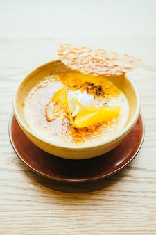 Orange cream catalana dessert