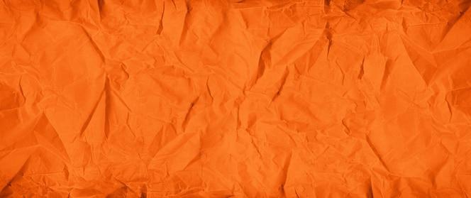 오렌지 구겨진 종이 질감 배경