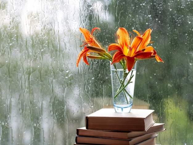Orange daylily flowers in a vase that stands on books.