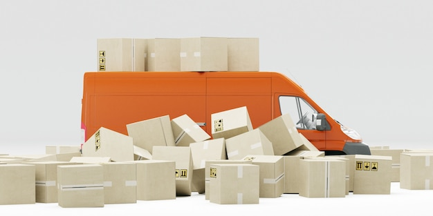 Оранжевый автофургон с картонными коробками