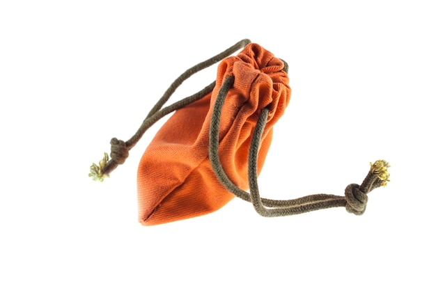 Orange drawstring bag packaging on white background