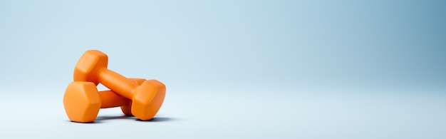 青い背景の上のオレンジ色のダンベル