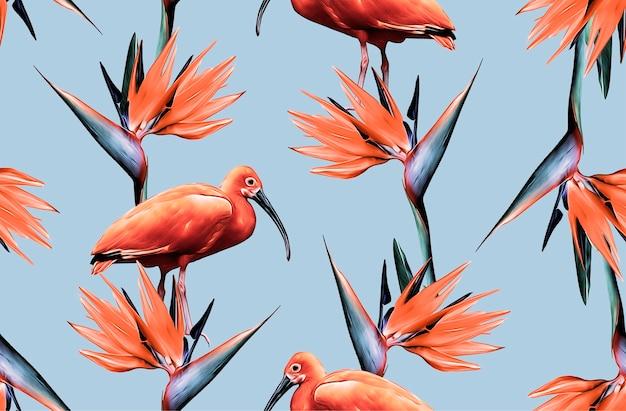 Orange exotic flowers and a flamingo pattern on light blue background