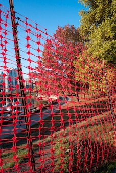 Orange fencing in stanley park in vancouver, british columbia, canada