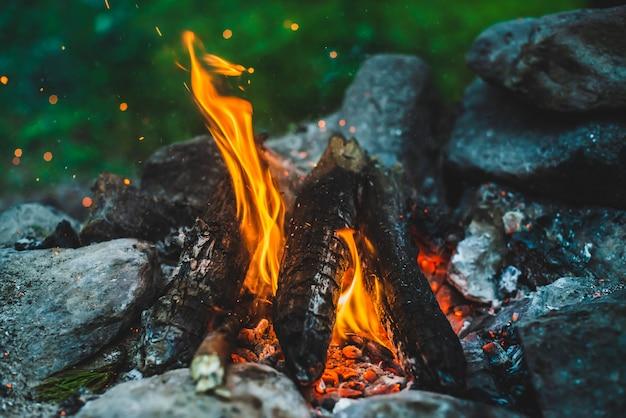 キャンプファイヤーのオレンジ色の炎。