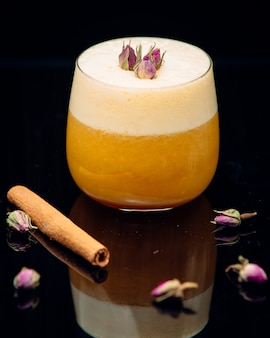 Orange fresh with flowers and cinnamon