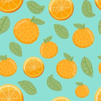 오렌지 과일과 손으로 그린 스타일에 잎 원활한 패턴 배경.