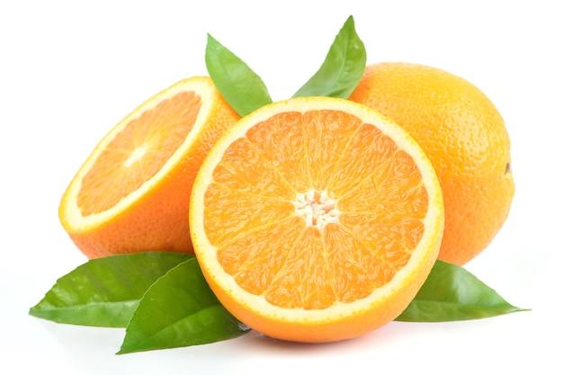 Orange fruit on a white background