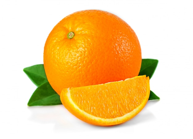 Orange fruit with leaves and slices isolated on white