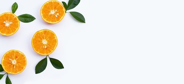 Orange fruits on white background. citrus fruits low in calories, high in vitamin c and fiber
