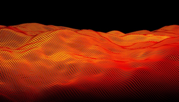 Orange geometric grid abstract waves on a black background.