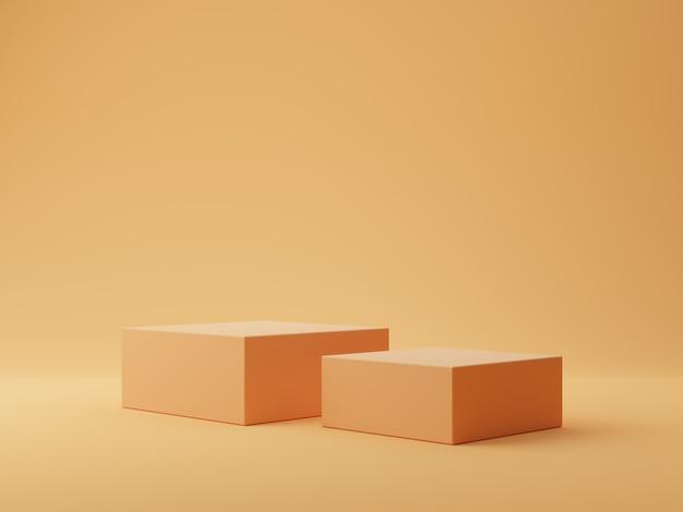 제품 디스플레이 연단 오렌지 기하학적 모양 배경