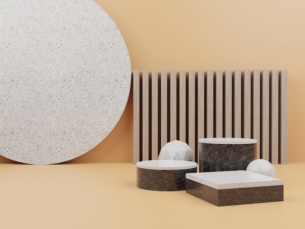 Orange geometric shape with podium for product display