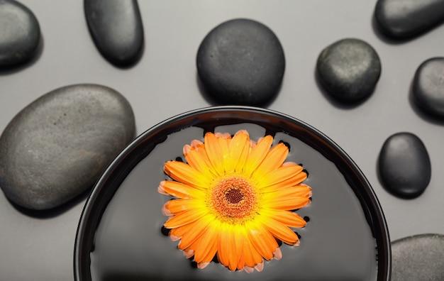 黒い小石に囲まれたボウルに浮かぶオレンジのガーベラ