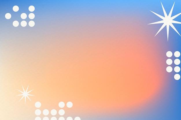 펑키 테두리가 있는 추상 멤피스 스타일의 오렌지 그라데이션 배경