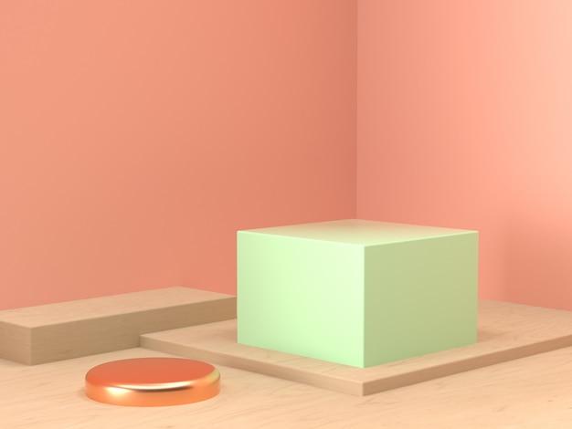 Orange green pastel scene wall corner geometric set stage