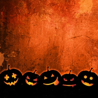Orange grunge background for halloween with pumpkins
