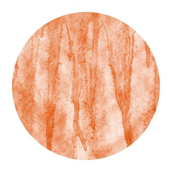 Orange hand drawn watercolor circular frame background texture with stains