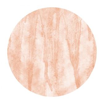 オレンジ色の手描きの汚れと水彩円形フレーム背景テクスチャ