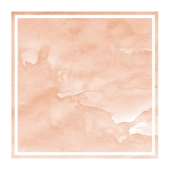 Orange hand drawn watercolor square frame background texture with stains